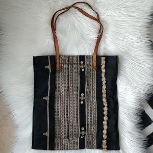 Madewell Canvas Tote Bag Black/Beige Boho